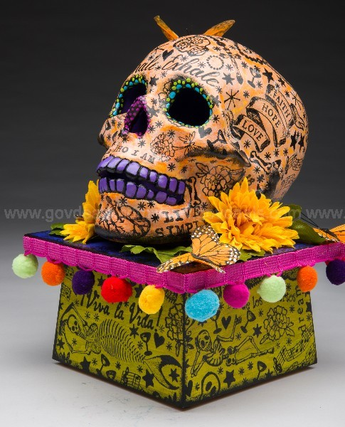 Ceramic skull painted and decorated.  Patricia and Jon Hecker, Bloomington,