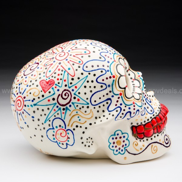 Ceramic skull painted and decorated.  Mindy Sand, Chagrin Falls, OH