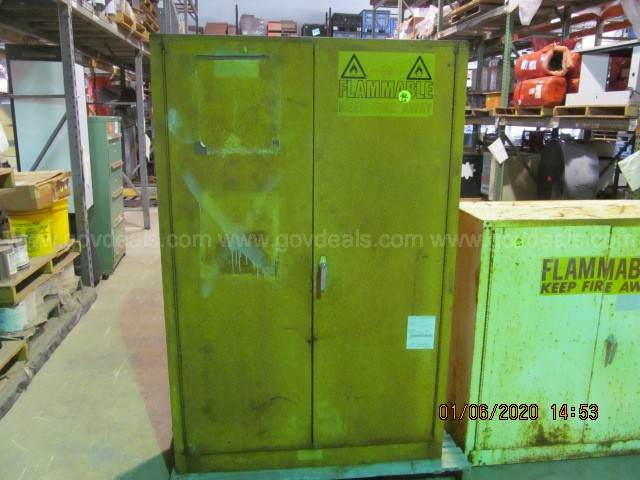 Three Justrite Flammable Liquids Safety Storage Cabinets