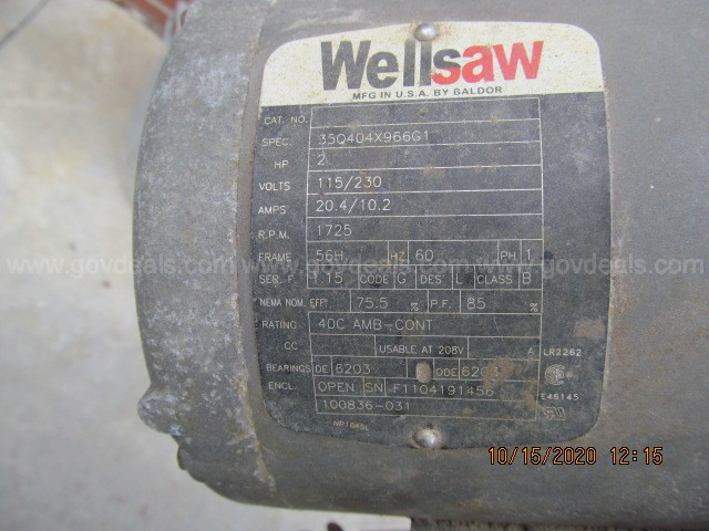 Wellsaw 1016 Band Saw ** Reduced Reserve**