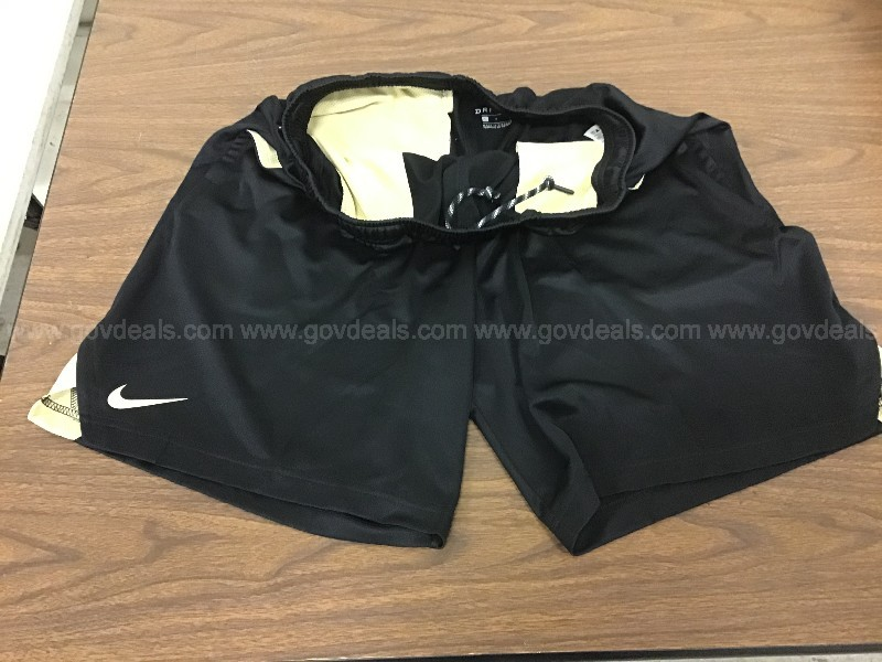 Lot of 12. Sizes 10)Lg, 2)Med. Nike Dri Fit  workout shorts 10)Blk 2)Gold