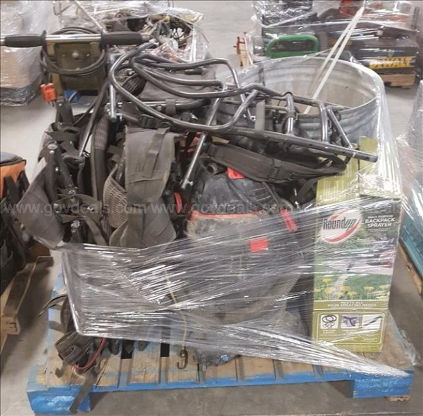 Lot of misc. tools- Carpet Puller, Shop Vac, Backpack Sprayers and frames