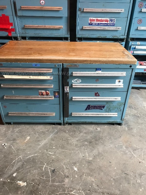VIDMAR CABINETS. 2 SETS OF 2 WITH WOOD TOPS.