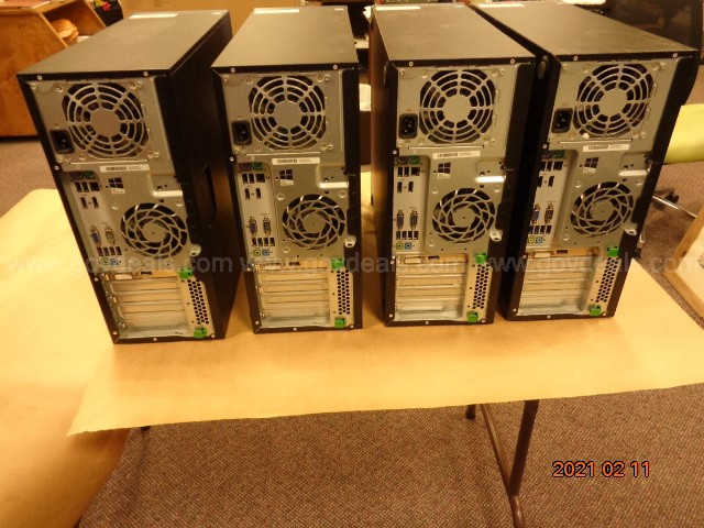 LOT #2: FOUR (4) HP ELITE CPU'S ALL HARD DRIVES HAVE BEEN REMOVED