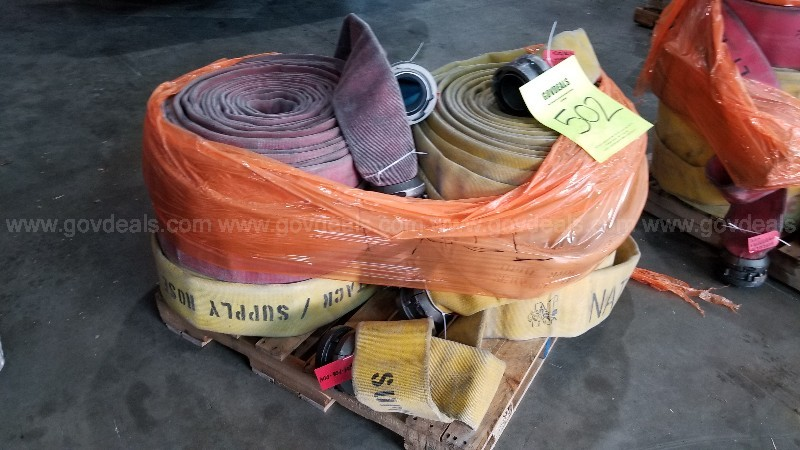 Pallet of used, expired, failed/ expired fire hose supply line
