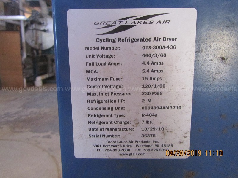 Great Lakes Air Cycling Refrigerated Air Dryer