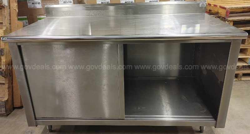 one (1) used advance tabco stainless steel cabinet with sliding doors