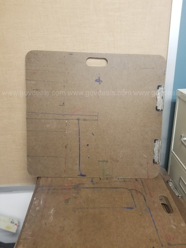 1 lot art boards, file cabinets, computer speakers