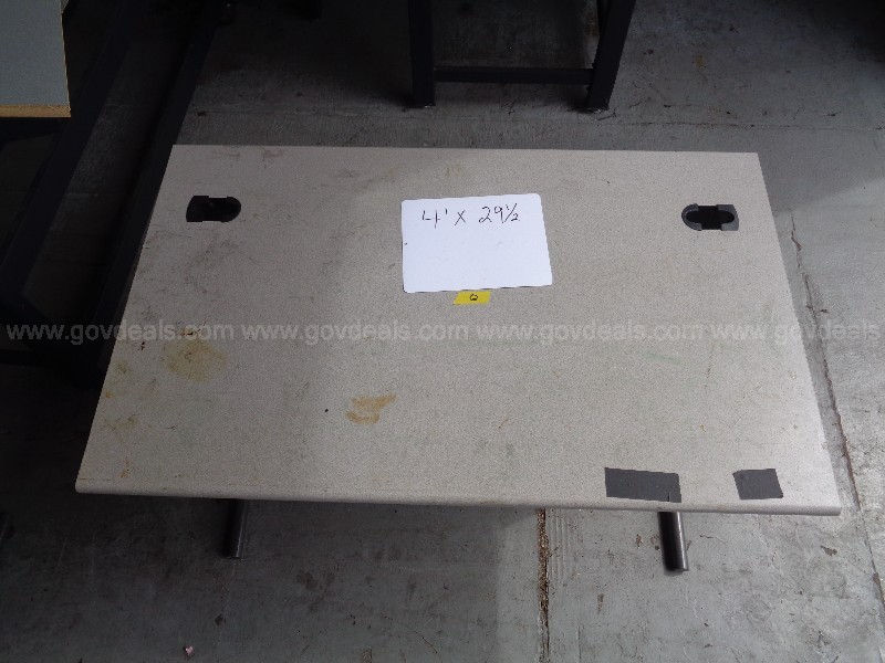 (2) HEAVY DUTY METAL TABLES WITH GRANITE PATTERN FORMICA TYPE TOP