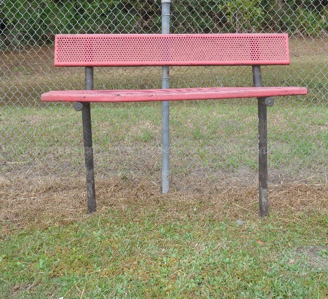 (4) USED 6 Ft HEAVY-DUTY PARK BENCHES W BACKS. 2 LEG IN-GROUND MOUNT