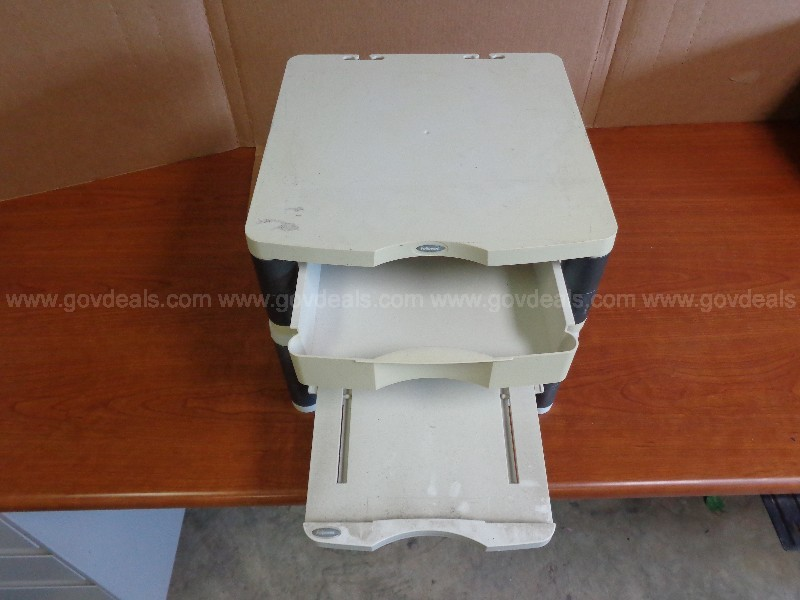 (2) FELLOWES MONITOR STAND, (2) METAL HANGING RACK, (1) 2- WAY SORTER...