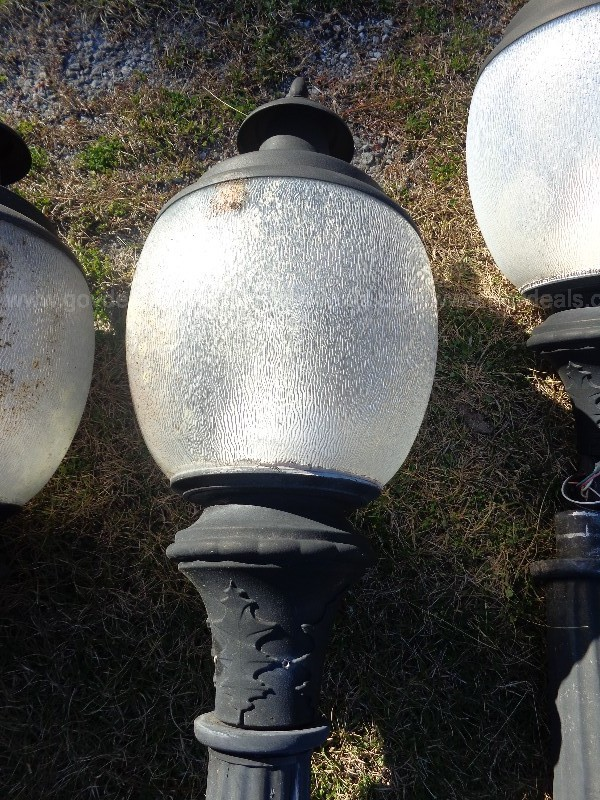 (5) USED STREET LIGHT POSTS [1 POST MISSING BASE,] (5) USED ACORN FIXTURES.