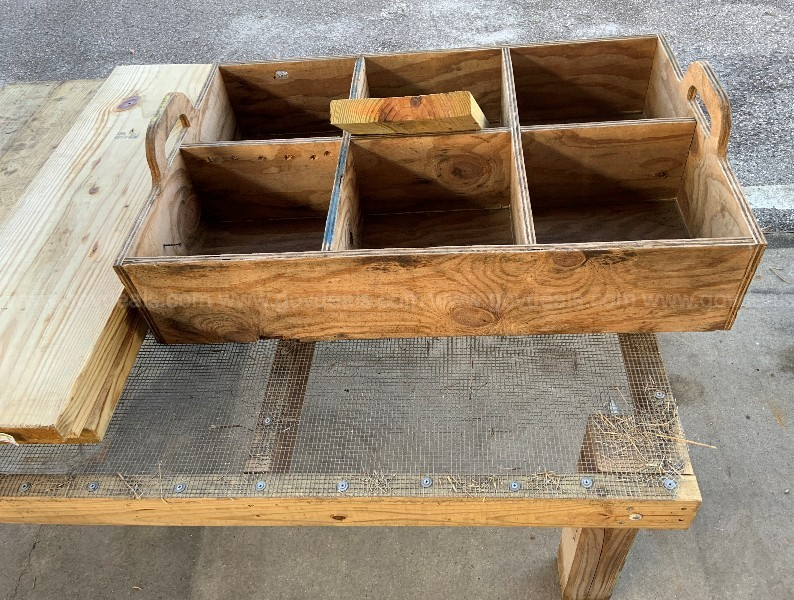 "FABRICATED (1) WOOD & MESH SCREEN, (1) HANDLED CRATE & (7) END-CUTS 12""x2"""