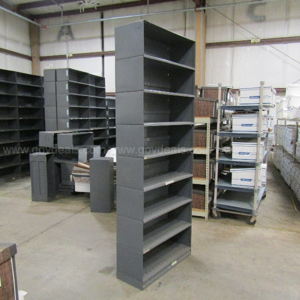 DIEBOLD, MODULAR INTERLOCKING METAL SHELVING UNITS
