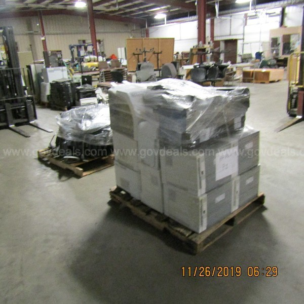 LOT OF MONITORS AND PRINTERS  ON 2 PALLETS