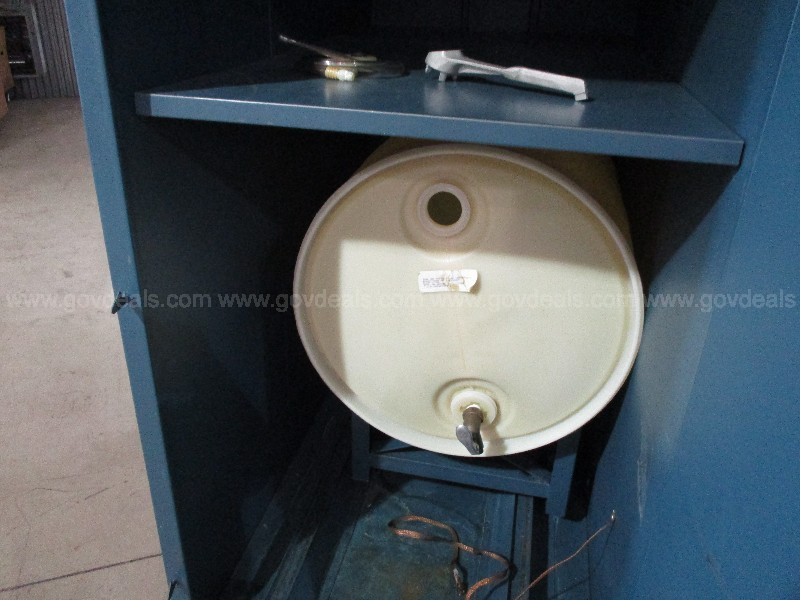 Cabinet for 55 Gal Drum w/Empty Plastic Barrel