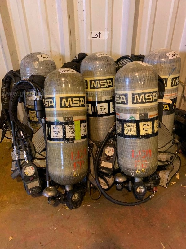 1 Lot of (5) - SCBA (Self Contained Breathing Apparatus) MSA 3000