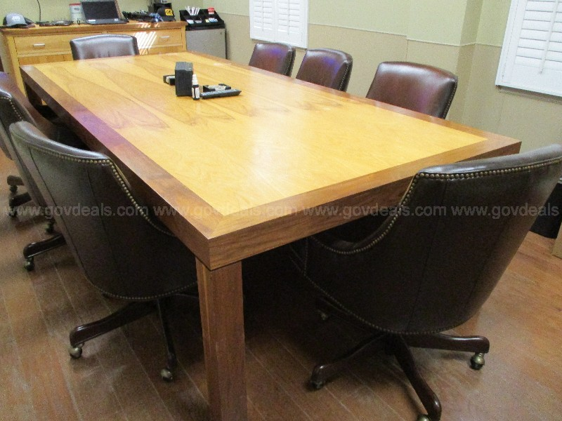 Wooden Conference Table, Credenza & Chairs
