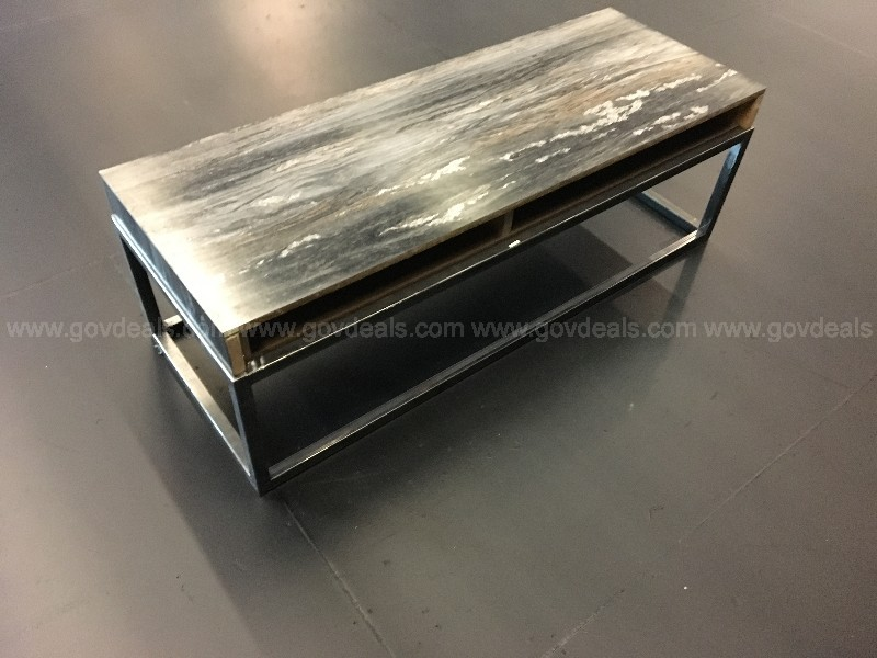 Shop Built Coffee Table Steel frame base with plywood Laminated top