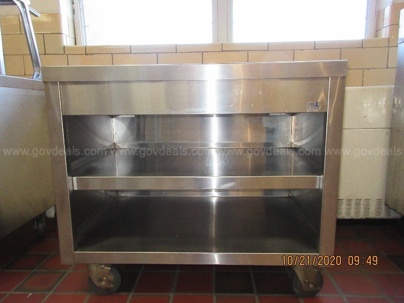 (Lot 25) Stainless Steel Roll Cart