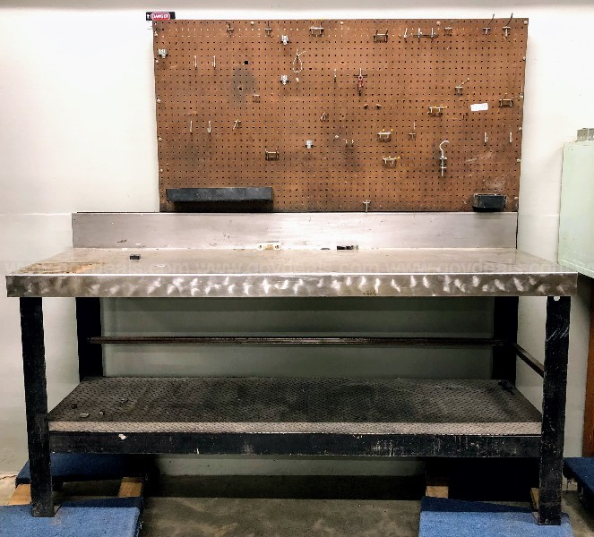 Large Metal Workbench with Pegboard