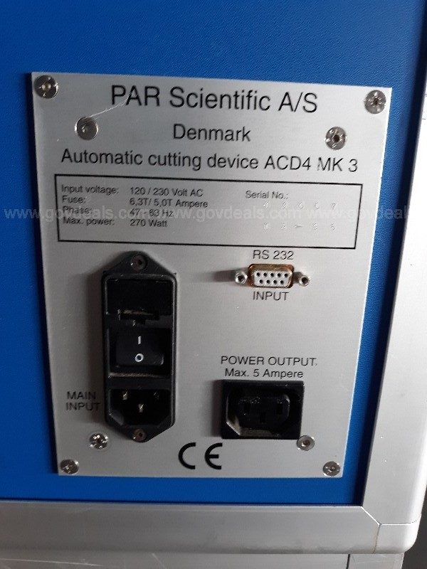 Par Scientific A/S Denmark Automatic Cutting Device ACD-4 MKIII