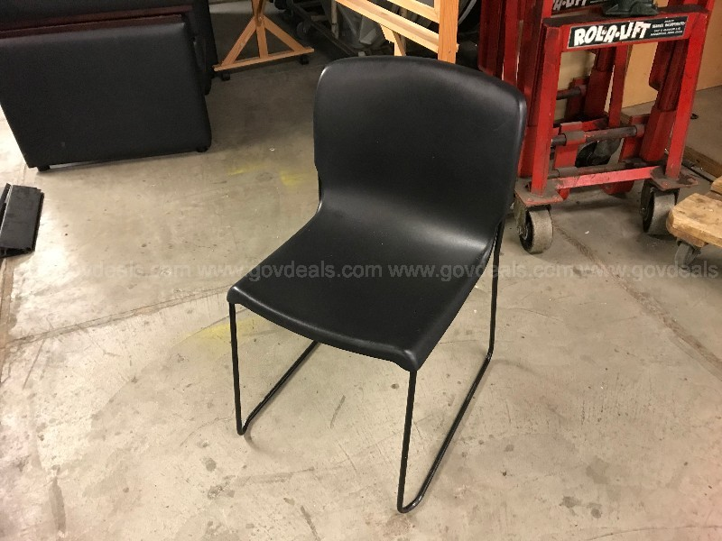 Lot of (65) Black Stacking Chairs with Sled Legs