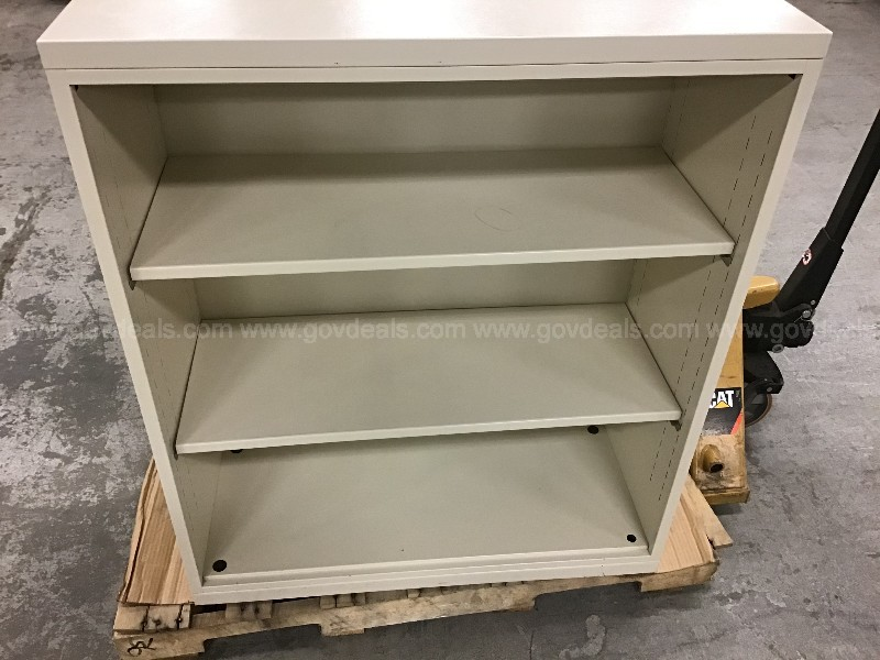 2 steel Meridian adjustable shelf cabinets