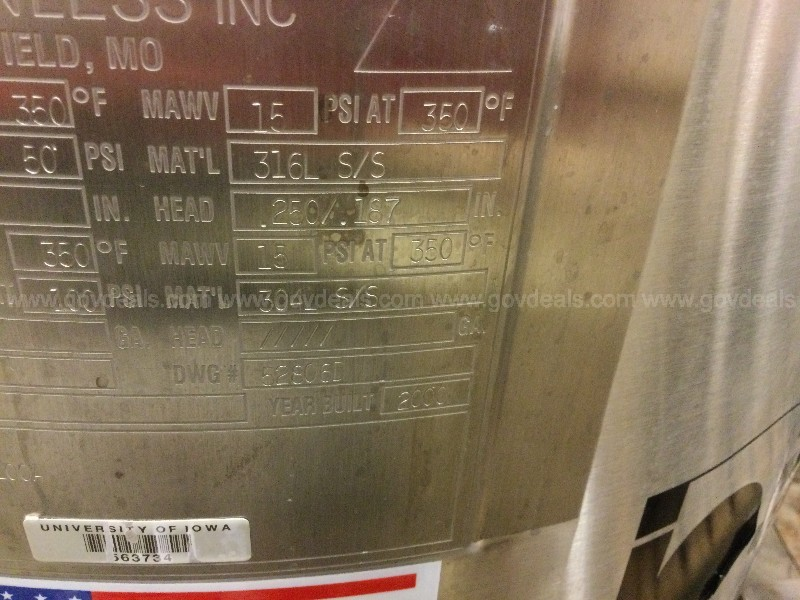 B Braun 100-L Fermentor - For Parts Repair Only