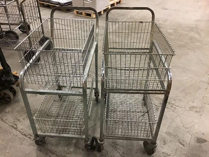2 rolling metal carts with removable wire baskets