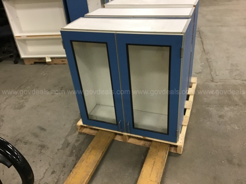 Lot of 3 wall hanging cabinets some with shelves
