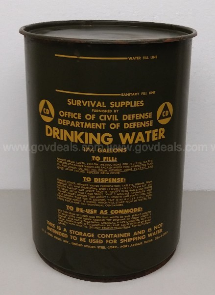 VINTAGE COLD WAR OFFICE OF CIVIL DEFENSE METAL DRINKING WATER DRUM