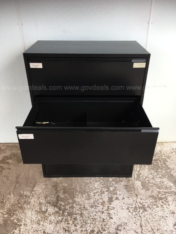 MERIDIAN HERMAN MILLER FOUR DRAWER LATERAL FILE CABINET BLACK