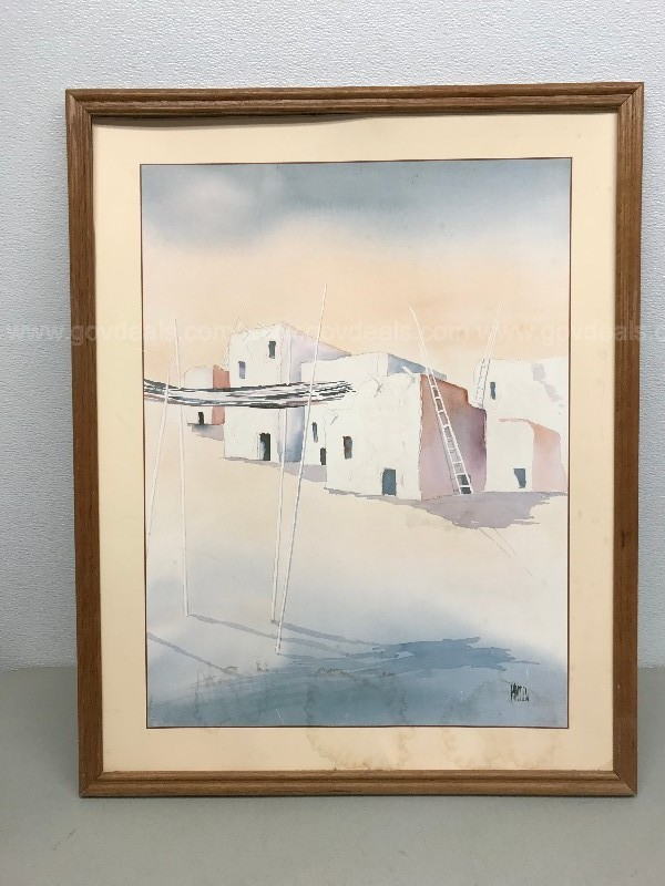 MADDEN 1988 ADOBE HOUSE LITHO PRINT SOME WATER DAMAGE