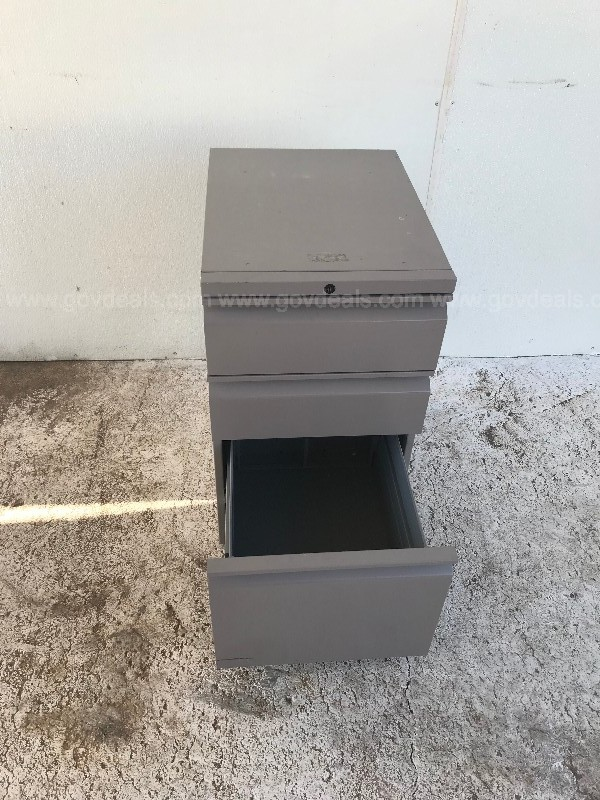 METAL GREY THREE DRAWER UNDER DESK CABINET