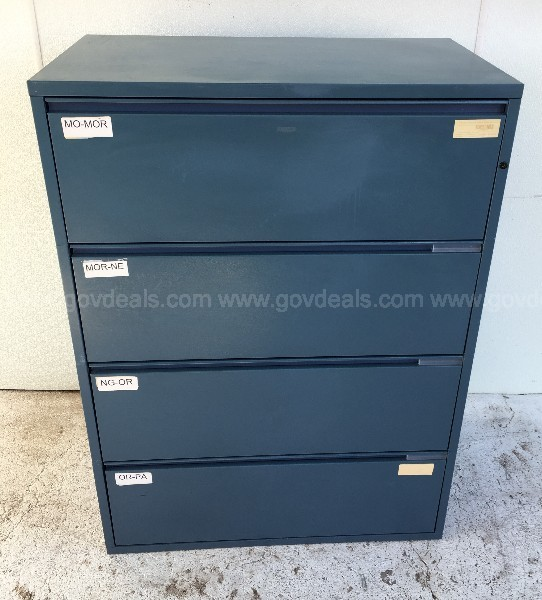 MERIDIAN HERMAN MILLER BLUE FOUR DRAWER LATERAL FILE CABINET