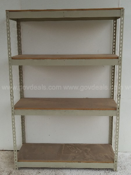 INDUSTRIAL METAL AND WOOD SHELVE UNIT FREE STANDING