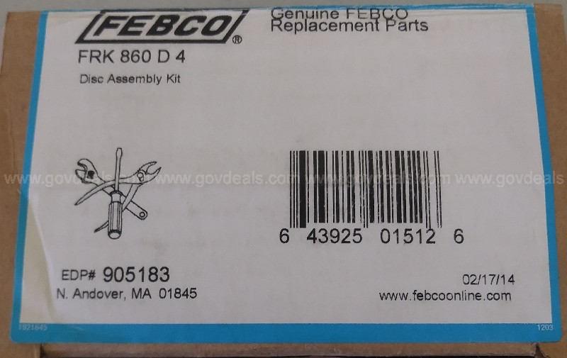 "FEBCO 4"" 1ST OR 2ND DISC ASSEMBLY REPAIR KIT 860 905-183 905183 RC4"