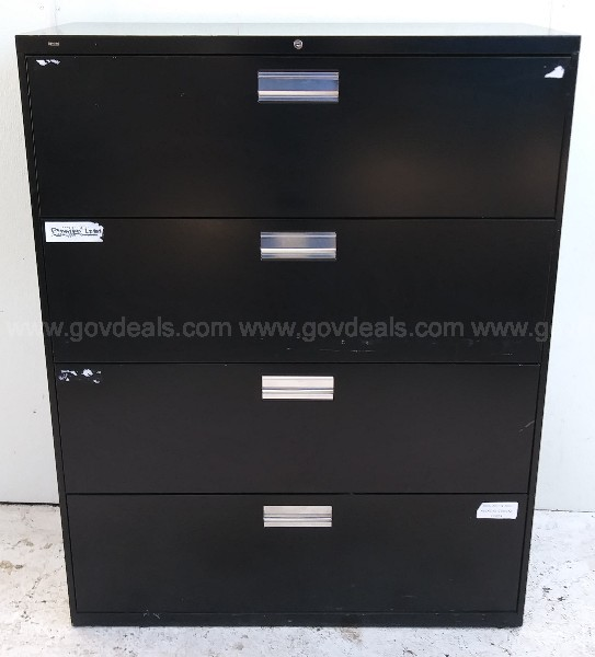 HON FOUR STACK LATERAL FILE CABINET BLACK