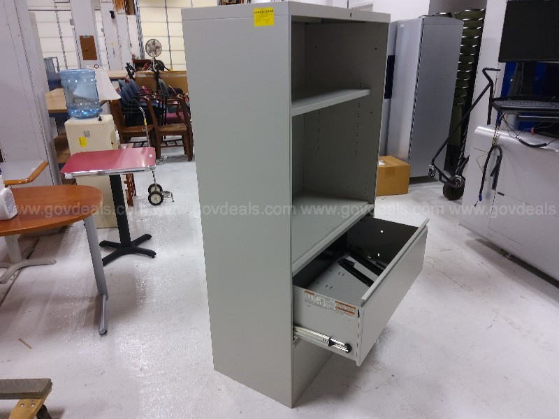 2 Drawer Lateral Cabinet with Overhead Shelf