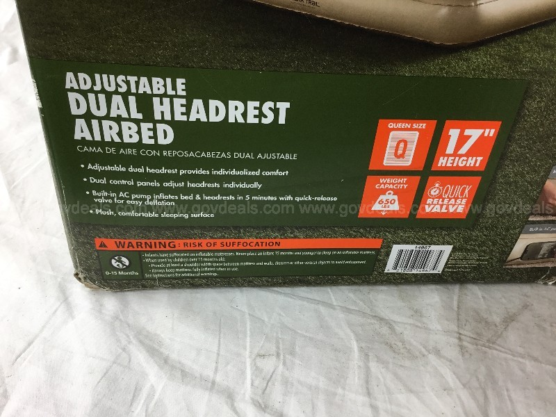 Ozark Trail Adjustable Dual Headrest Queen Size Airbed