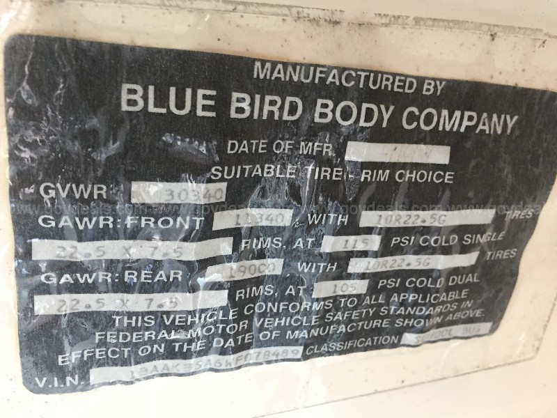 1998 Blue Bird TC2000 Loc-E9 (20-1295 ASD)