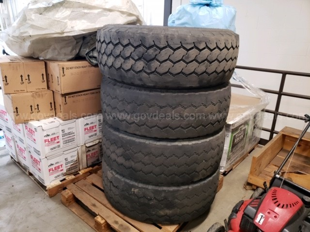 One set of 4 385/65R22.5 tires