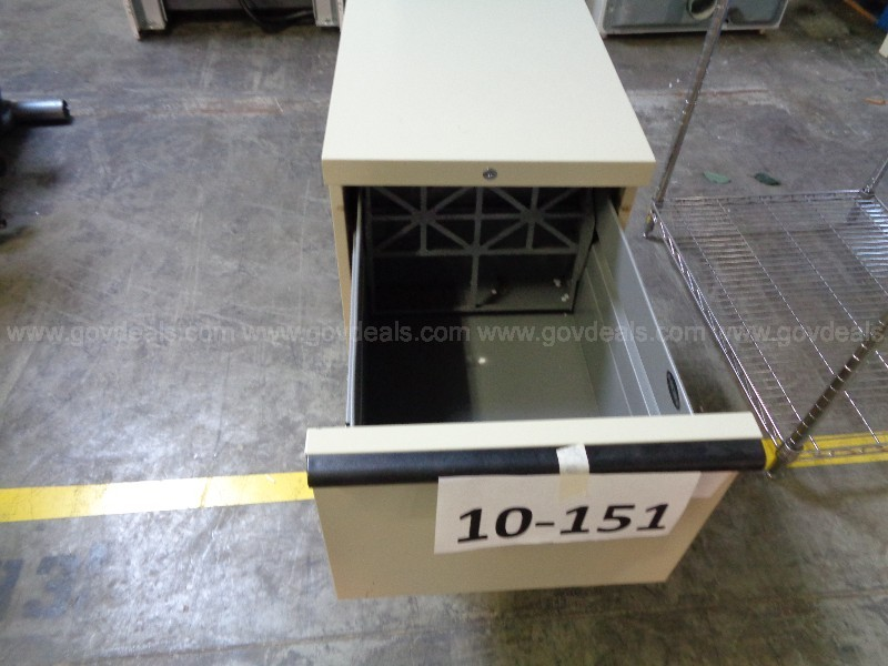 10-151  Metal Vertical Filing Cabinet on Rollers