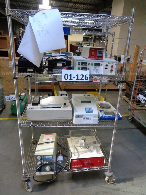 01-126  Lot of Lab Equip.- Oscilloscope, Shakers, Scale, Centrifuge, & More