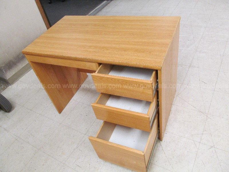 3-Drawer Wood Desk
