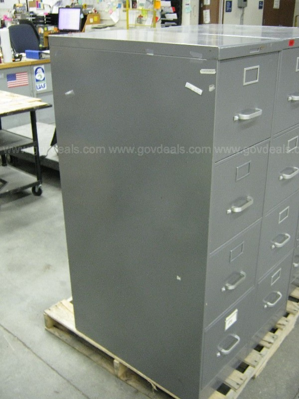 3 x Gray SteelCase 4-Drawer Filing Cabinets